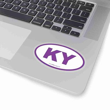 Kentucky KY Euro Oval Sticker PURPLE