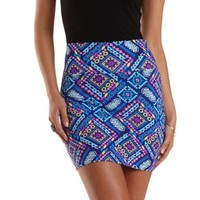 Bright Blue Combo Tribal Print Bodycon Mini Skirt by Charlotte Russe