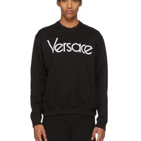 Versace Round neck pullover sweater white letters Top Shirt Black
