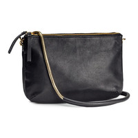 H&M - Leather Shoulder Bag - Black - Ladies