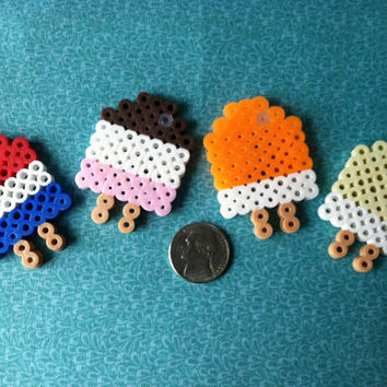 Creamsicle Set: Perler Bead Popsicle Fridge Magnet