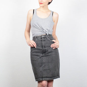 Grey Denim Skirt Knee Length - Dress Ala