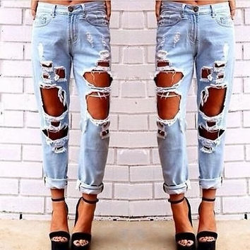 New Fashion jeans woman Light Blue Solid Novelty Skinny Full length ripped = 1929867076