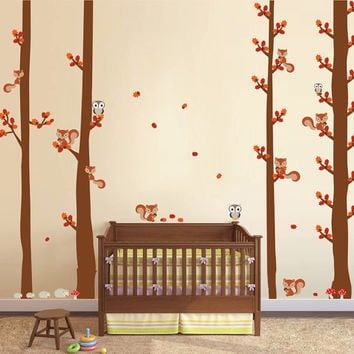 kcik1689 Full Color Wall decal bedroom children's Custom Baby Nursery tree nusery decal tree forest owl birds squirrels