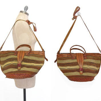 Meru Sisal Bag • 1970s Woven Market Bag • Vintage Woven Straw Tote • Natural Sisal Shoulder Bag • 70s Cross Body Bag • Leather Market Bag