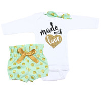 Baby Newborn take home outfit | Mint, Gold and Black Made With Love Outfit | High Waisted Bloomers and Knotted Headband