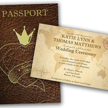 Passport Wedding Invitation - Passport Invitation - Passport Invites - Wedding Invitation - Unique Wedding Invitation - Brown Leather - Gold
