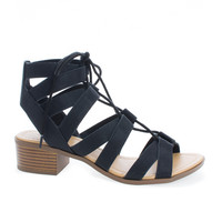 Mousse Black Pu by City Classified, Black PU Lace Up Cut Out Block Chunky Heel Sandals
