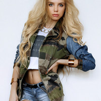Exclusive Love Vintage Renewal Camo Jacket With Levi Denim Sleeves