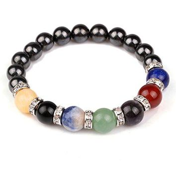 JDZ Amulets Chakra Hematite Bracelet Healing Crystal Magnetic Therapy Stretch Stone Beaded Bracelet8mm For MenampWomen