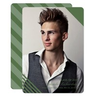 Green Striped 2018 Photo Graduation Announcement