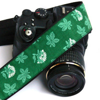 Green Camera Strap. dSLR Camera Strap. Canon Camera Strap. Leaves Camera Strap. Women Accessories.