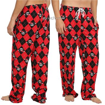 Licensed cool HARLEY QUINN Diamond Print Guys Pajama Lounge SLEEP PANTS w/pockets DC