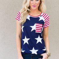 Stars + Striped Pocket Tee