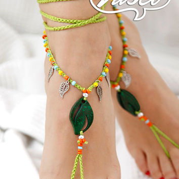 Barefoot sandal, Crochet hippie shoes, yoga, bellydance accessories