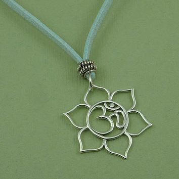 Silver Om Lotus Necklace on suede cord - sterling silver aqua corded necklace - christmas gift idea - best friend gift
