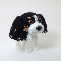 Cavalier King Charles Spaniel Amigurumi Dog Crochet Dog Stuffed Animal Tricolor Tri Color / Made to Order