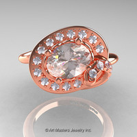 Art Nouveau 14K Rose Gold 1.0 Ct Oval Morganite Diamond Nature Inspired Engagement Ring R296A-14KRGDMO
