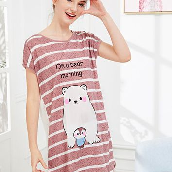 Bear Print Striped Night Dress