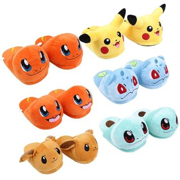 Pikachu Eevee Charmander Squirtle Bulbasaur Adult Plush Slippers Winter Indoor Slippers Plush Toys Soft Dolls