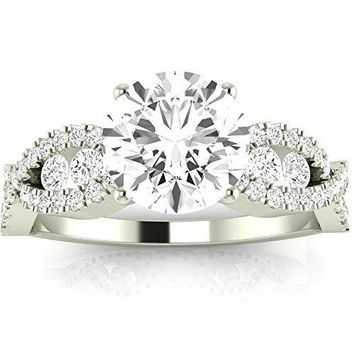 CERTIFIED | 1.6 Ctw Designer Twisting Eternity Channel Set Four Prong Engagement Ring w/ Round 1 Carat Moissanite Center (Platinum, Yellow, White, Rose)