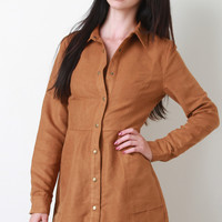 Vegan Suede Button Up Collar Dress