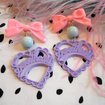 Lilac, Teal and Pink Sweetheart Earrings