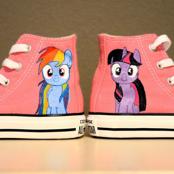 My Little Pony - Rainbow Dash & Twilight Sparkle - Hand Painted Chuck Taylor Converse Shoes - Infant/Toddler sizes