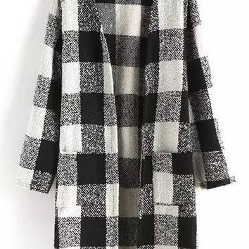 Black and White Plaid Long Sleeve Cardigan with Pocket