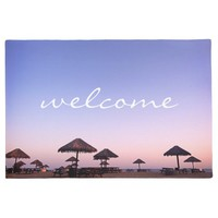 """Welcome"" California Palapa Beach Sunset Photo Doormat"