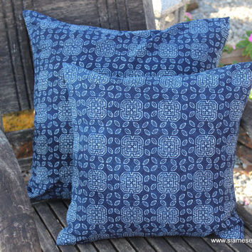 16 in Indigo Batik Hmong Pillow In Natural Cotton Double Sided Cushion Cover