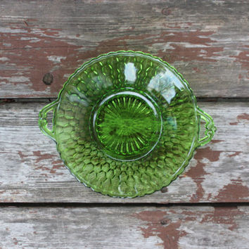Vintage Indiana Glass Co. Emerald Green Honeycomb Pattern Pressed Glass Dish with Handles - Candy or Jewelry Dish