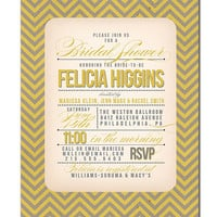 Bridal Shower Invitation Vintage Modern Wedding Invitation Gray Yellow Chevron Typography Printable Digital or Printed - Felicia Style