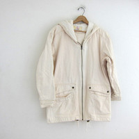 Vintage off white khaki field jacket / spring coat with oversized pockets and hood