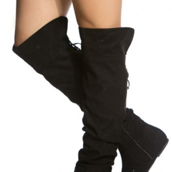 Black Faux Suede Knee High Slouch Boots @ Cicihot Boots Catalog:women's winter boots,leather thigh high boots,black platform knee high boots,over the knee boots,Go Go boots,cowgirl boots,gladiator boots,womens dress boots,skirt boots.