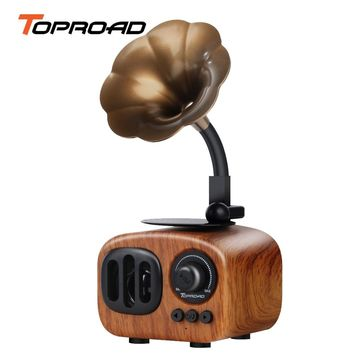 Retro Style Bluetooth Speaker Wireless Stereo Subwoofer Music Box Wooden Speakers with Mic FM radio TF for Phone