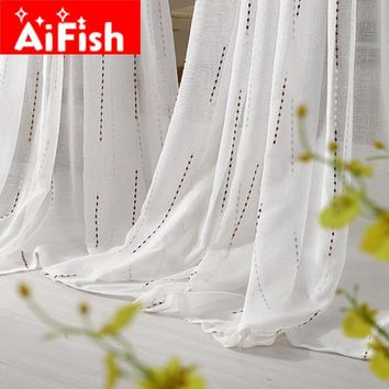 Modern ALL-Match Whte Window Sheer Curtains for Living Room Bedroom Kitchen Window Treatments Panels Fabric Draperies AF023#30