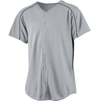 Augusta 583Wicking Button Front Baseball Jersey Youth - Lt Gray Bk