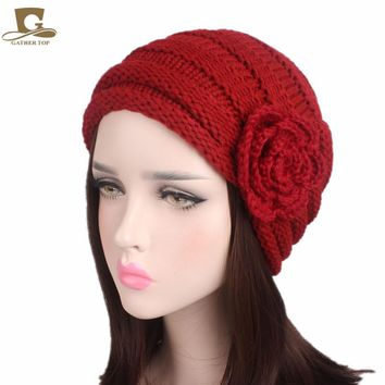 2017 new fashion women slouchy beanie ski baggy hat  knitted turban cap with crochet flower Winter Warm Knitting Hats