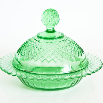 1930s Anchor Hocking Miss America Green Depression Glass Butter Dish, Round Covered Dish, Hard to Find