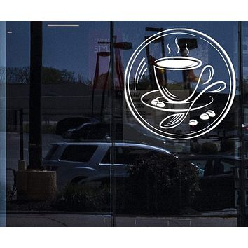 Window Sign Vinyl Decal Coffee Couple Grain Coffee Shop Restaurant Wall Stickers Unique Gift (n485w)