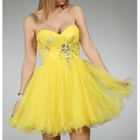 Cremita-Yellow Prom Dresses