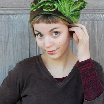 Stylish brown felted hat with green leaves, woman small toque hat, woodland style. OOAK