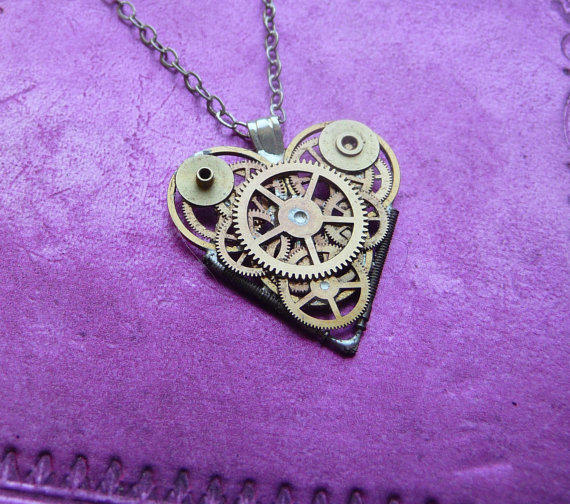 """Clockwork Heart Necklace """"Yearning"""" Elegant Cool Industrial Heart Steampunk Necklace Love Choker Sculpture by A Mechanical Mind"""