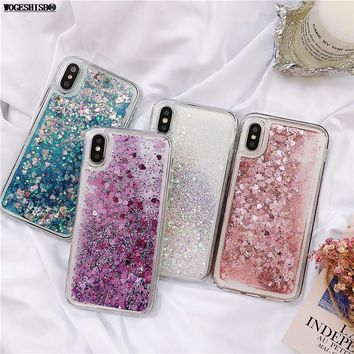 Love Heart Glitter Phone Case For iphone X XR XS MAX Liquid Quicksand Cover For iphone 5 5S SE 6S 6 7 8 Plus Bling Sequins