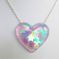 Holographic Iridescent Stars Heart Shaped Pendant Necklace Kawaii Kitsch Pastel Candy Rave Festival Summer Charm Carnival Kitsch Playful