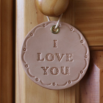I Love You Sign, I Love You Leather Wall Decoration, Inspirational Leather Rounders, Leather Wall Hanging, Hand Tooled Leather Roundels
