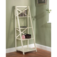 Antique White 4-tiered X-Shelf Ladder Case