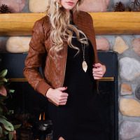 Luanna Pleather Jacket - Tan