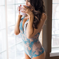 Here Comes Summer T Back Two Toned Lace Bodysuit (Blush/Aqua)